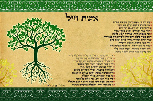 Fulfillment Tree of life A Woman of Valor Blessing poster Judaica Gift hanging
