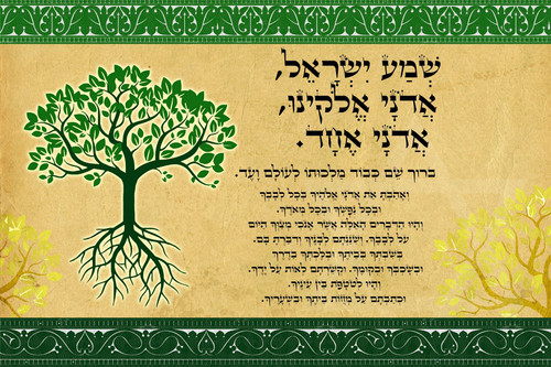 Fulfillment Tree of life shema Israel Blessing poster Judaica Gift wall hanging