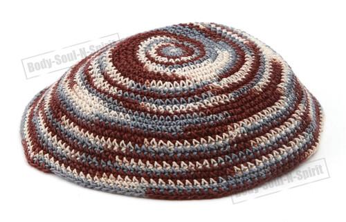 Holy Brown Yarmulke Knitted Kippah Tribal Jewish Yamaka Israel Hat Covering Cap