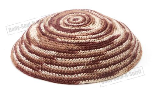 Hat Covering Cap Holy Brown Yarmulke Knitted Kippah Tribal Jewish Yamaka Israel