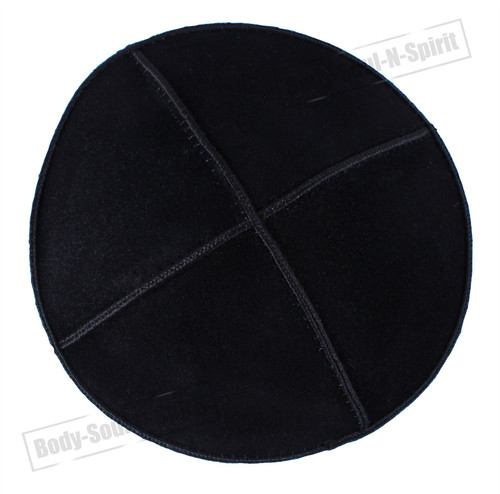 Black leather Beanie Kippah Yarmulke Kippa Israel Tribal Jewish Hat covering Cap