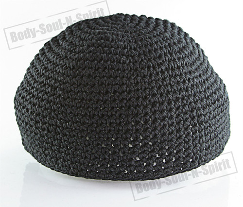aa2b020b2a8 Black Knitted Kippah Yarmulke Tribal Jewish Hat covering Cap