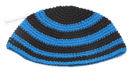 Blue Stripe Knitted Kippah Yarmulke Tribal Jewish Hat covering Cap Holy gift