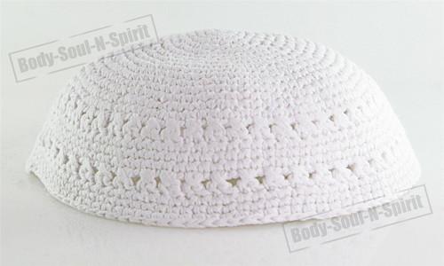 White Knitted Kippah Yarmulke Tribal Jewish Yamaka Kippa Israel Hat Covering Cap