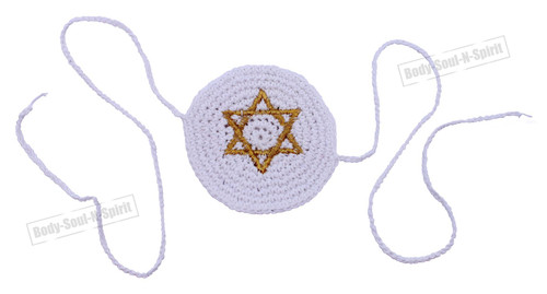 Gold Star of David BABY Knitted Kippah Yarmulke Tribal Jewish Yamaka Kippa Israel