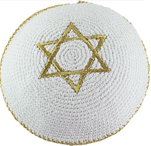 Gold Star of David Knitted Kippah Yarmulke Tribal Jewish Yamaka Kippa Israel