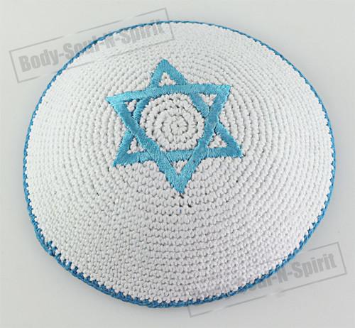 Sky Blue Star of David Knitted Kippah Yarmulke Tribal Jewish Yamaka Kippa Israel