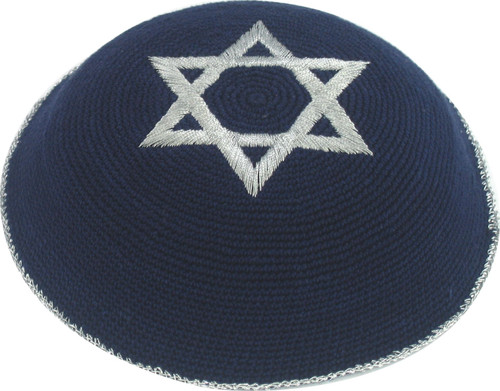 Blue Star of David Holyland Knitted Kippah Yarmulke Tribal Jewish Yamaka Kippa