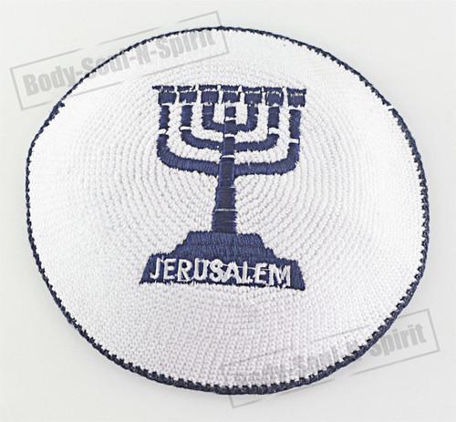 White Menorah Knitted Kippah Yarmulke Tribal Jewish Yamaka Kippa Israel