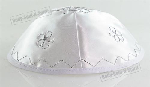 Silver Flowers Satin Kippah Yarmulke Jewish Yamaka Kippa Israel Head Cover