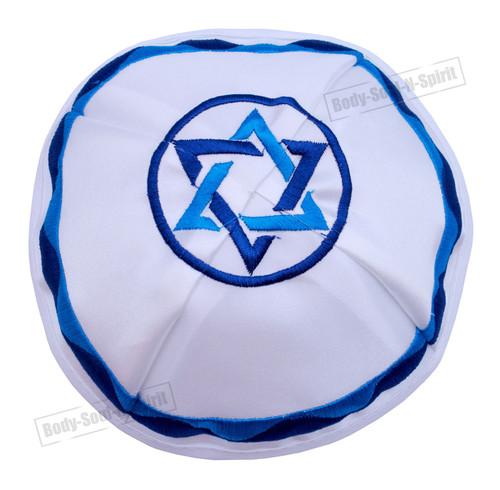Star of David SATIN Kippah Yarmulke Tribal Jewish Yamaka Kippa Holy Israel hat