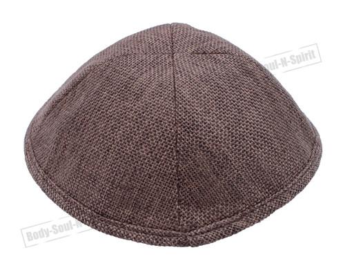 BROWN LINEN KIPPAH PIN SPOT Yarmulke Tribal Jewish Yamaka Kippa holy Israel cap