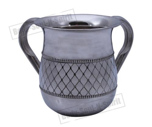 Israel NETILAT YADAYIM Judaica stainless steel Jewish Shabbat Hand Washing Cup