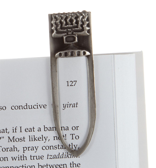 Pewter Plated Jewish Menora Israel Bookmark Judaica Amulet Charm Gift