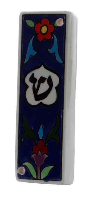 Shaddi Armenian Ceramic Hebrew Mezuzah 10CM Case Israel Jewish Judaica Holy Gift
