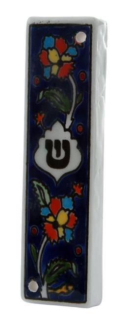 Floral Armenian Ceramic Hebrew Mezuzah 12CM Case Israel Jewish Judaica Holy Gift