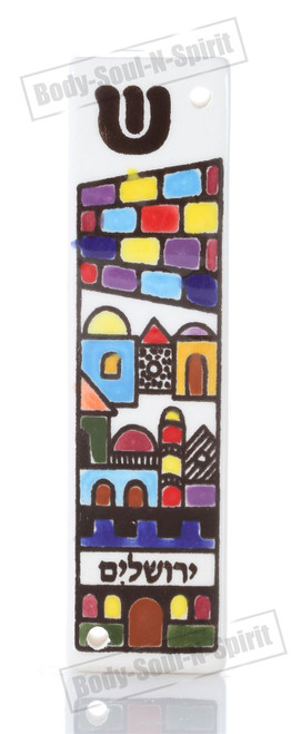 Israel Jewish Judaica HOLYLAND Gift  Armenian Ceramic Hebrew Mezuzah 10CM Case
