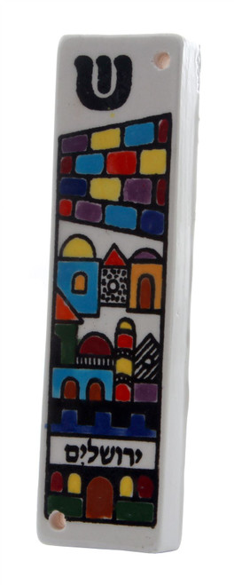 Holy JERUSALEM Armenian Ceramic Mezuzah Case 12 CM Israel Jewish Judaica Gift