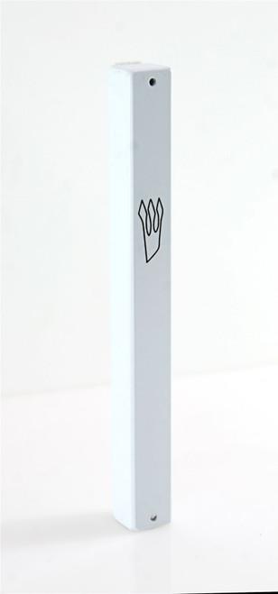 White plated Mezuzah Mezuza Case 12cm Judaica Jewish shaddi Aluminum Design