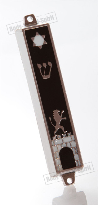 Silver tone Mezuzah Mezuza Black Case 7cm Judaica Jewish lion wall star Kotel
