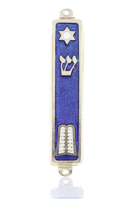 Silver plated Mezuzah Blue Case 7cm Judaica Jewish Shaddi Star of David Israel