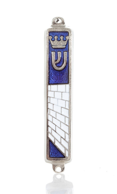 Silver plated Mezuzah Mezuza Blue Case 7cm Judaica Jewish Torah Crown Kotel Gift