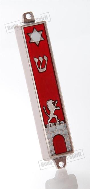 Silver tone Mezuzah Mezuza Red Case 7cm Judaica Jewish lion wall gate star Kotel