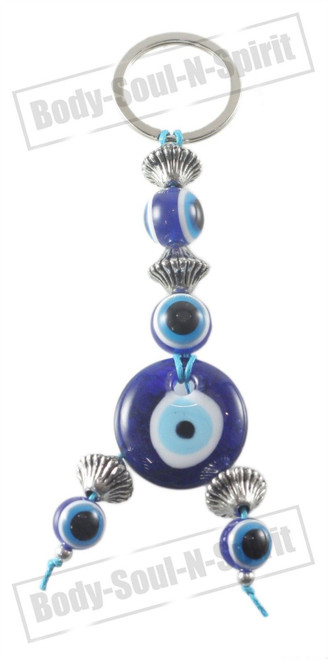 Blue glass Beads  greek turkish evil eye Key Chain Ring Amulet Pendant Charm