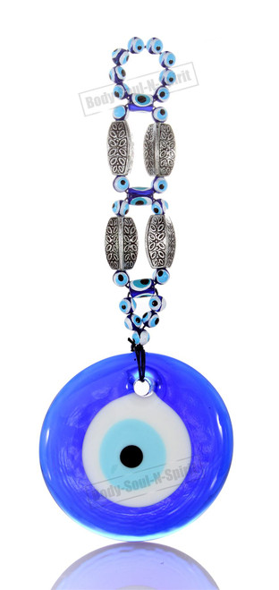 Huge Blue beads glass greek turkish evil eye wall hanging Amulet Pendant Charm