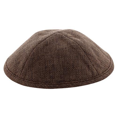 SPOT BROWN Yarmulke LINEN KIPPAH PIN  Tribal Jewish Yamaka Kippa holy Israel cap