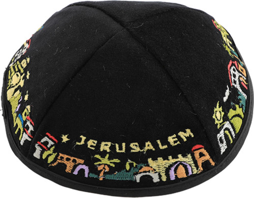 Black Jerusalem decoration velvet covering Cap Beanie Jewish Kippah Yarmulke