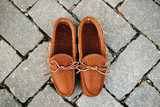 Mens Unlined Buffalo Hide Soft Sole Moccasin