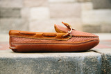 Mens Bull Hide Unlined Triple Sole Canoe Moc