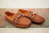 Mens Buffalo Hide Unlined Triple Sole Canoe Moc