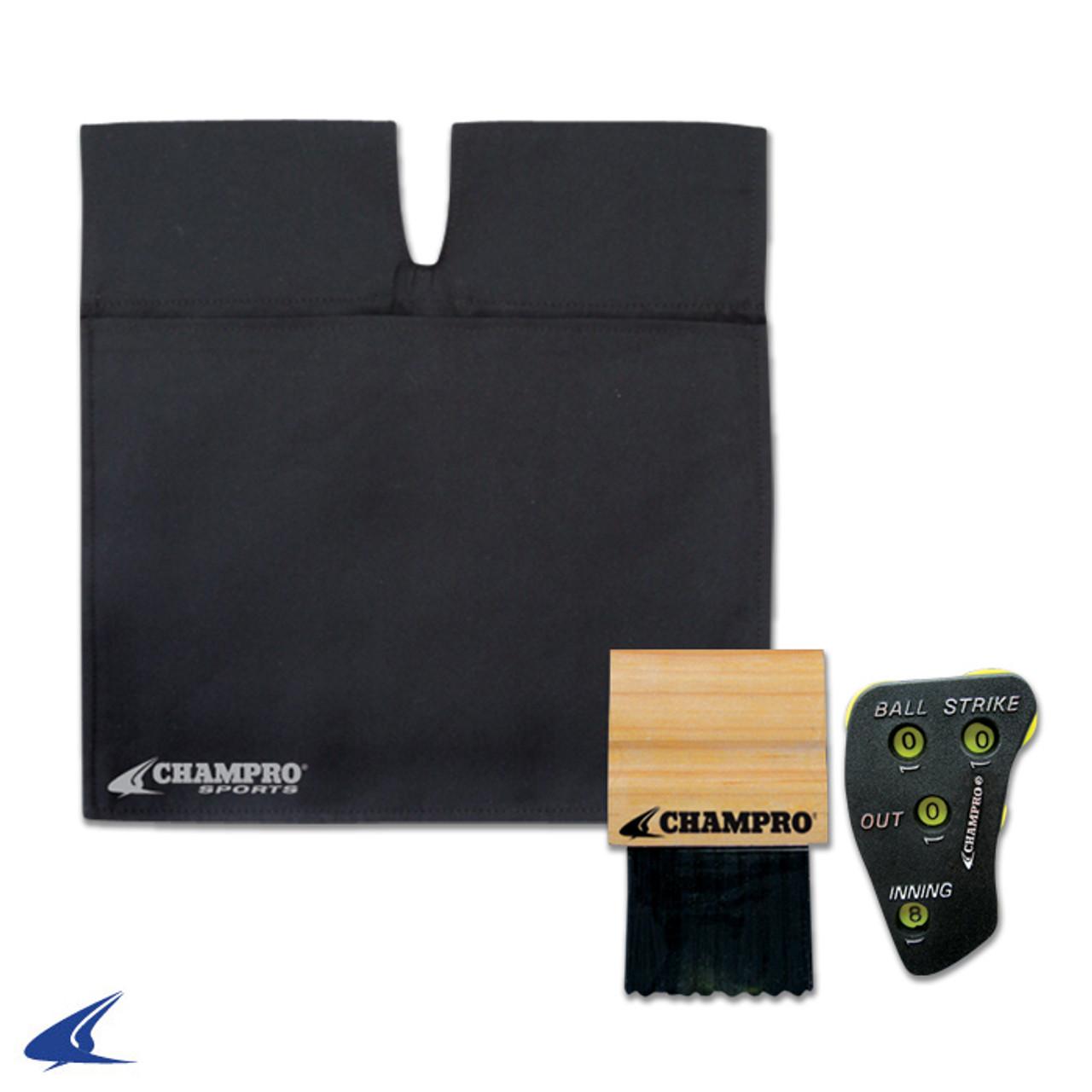 Champro Black Umpire Ball Bag, Wood Brush and 4-dial Indicator