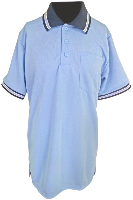 Teamwork Carolina Blue Umpire Shirt with Black Collar