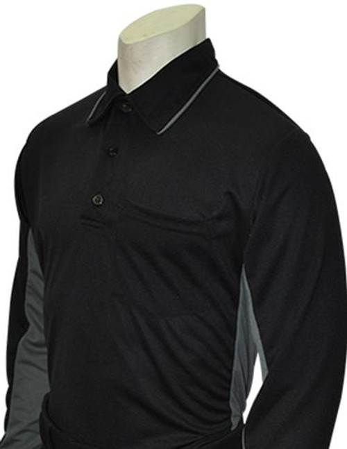 Smitty MLB Replica Long Sleeve Umpire Shirt Black w/Charcoal Grey