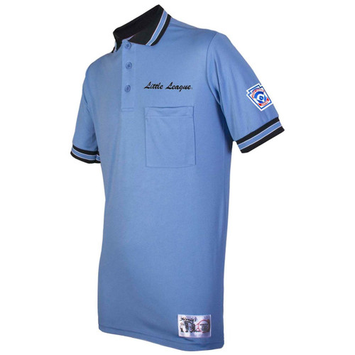 Little League Polo Blue Umpire Shirt With Black Trim
