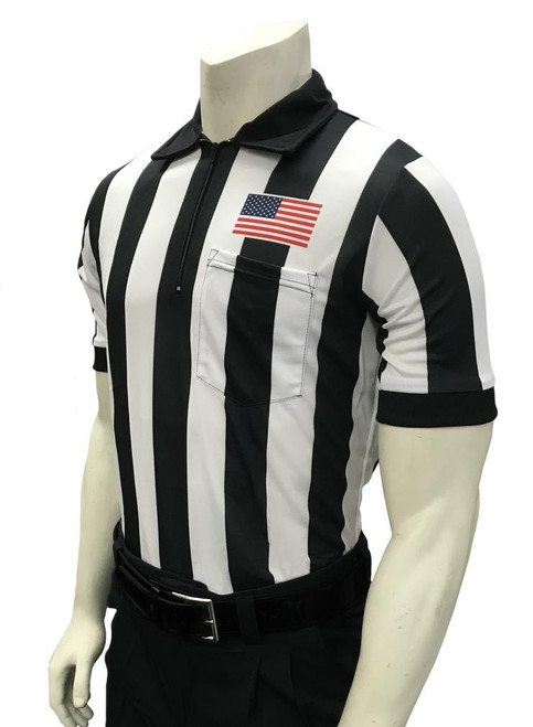 "Smitty Official's Apparel 2"" Stripe Dye Sublimated Short Sleeve Football Referee Shirt With Chest Flag"