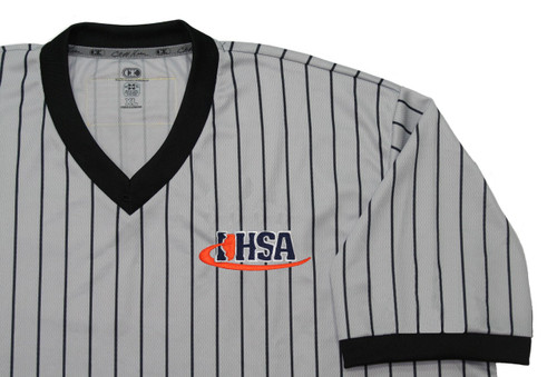 Illinois IHSA Cliff Keen Gray Pinstripe Wrestling Referee Shirt