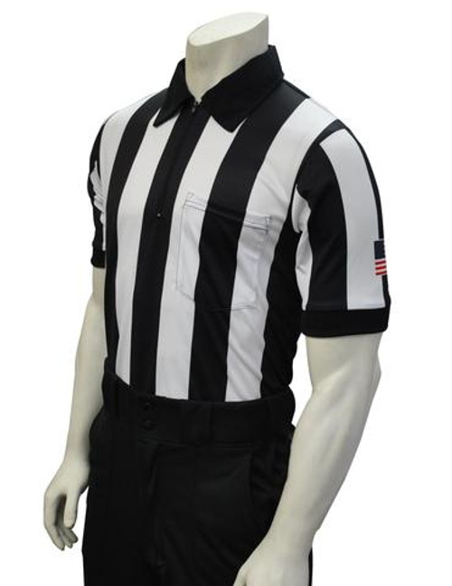 "Smitty 2 1/4"" Stripe Body Flex Short Sleeve Football Referee Shirt with Sleeve Flag"