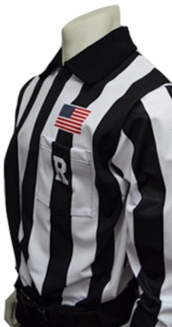 "Smitty Dye Sublimated Long Sleeve 2 1/4"" Stripe Football Referee Shirt with Placket"