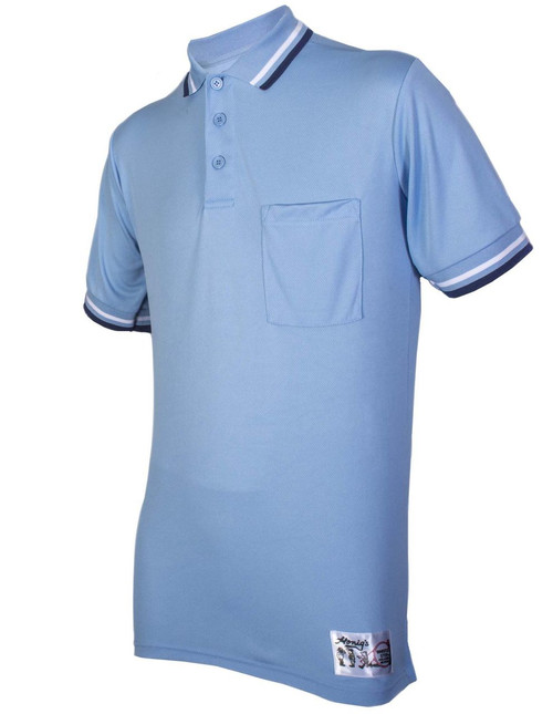 Honig's NAIA Powder Blue Softball Umpire Shirt with Navy and White Trim