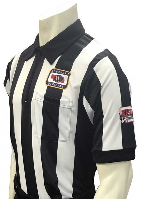 "Nebraska NSAA Body Flex Short Sleeve 2 1/4"" Stripe Football Referee Shirt with NHSOA Logo"