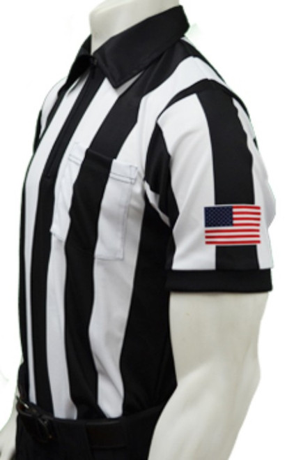 "Smitty 2 1/4"" Stripe Body Flex Short Sleeve Football Referee Shirt with White Border Sleeve Flag"