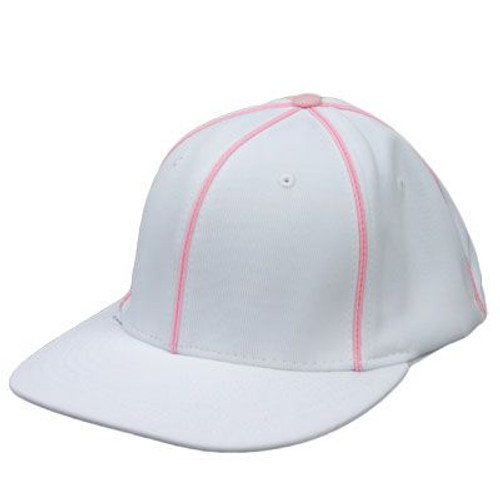 White Football Referee Cap with Pink Piping