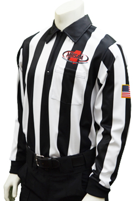 "Mississippi MHSAA Long Sleeve 2"" Stripe Football Referee Shirt"