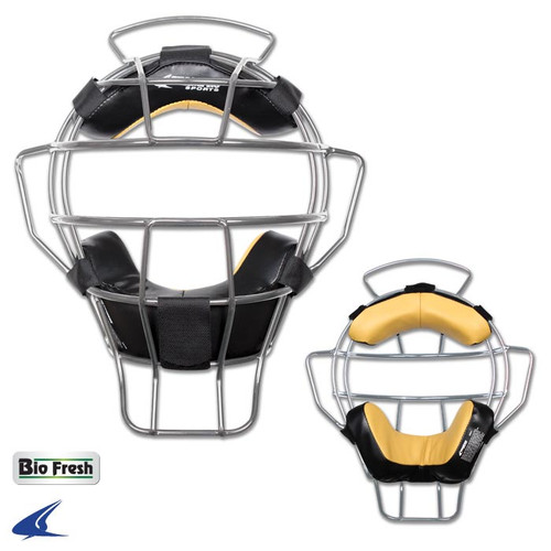 0bfe5a98193f Champro Silver Lightweight Umpire Mask Leather Biofresh Pads