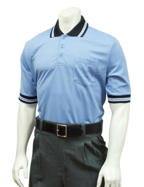 Smitty Carolina Blue Umpire Shirt with Black MLB Style Collar