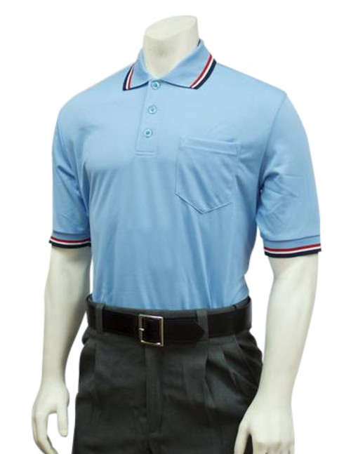 Smitty Official's Apparel Powder Blue with Red, White and Blue Trim Umpire Shirt
